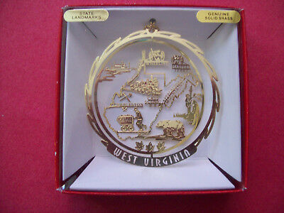 Nation's Treasures West Virginia  State Brass Ornament