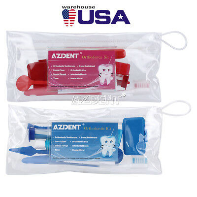 2 Colors Dental Teeth Oral Cleaning Care Orthodontic Kits Brush Floss Thread Wax