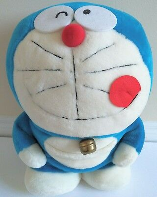 "Japanese Doraemon Stuffed Plush ドラえもん Fujiko 1970 Vintage 17"" with Bell"