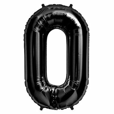 """Foil Balloon 34"""" Number 0 - Black by NorthStar (g5b)"""