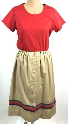 VINTAGE Toni TOdd RED tshirt BEIGE drill buttons STRIPED skirt 70s dress 14 16