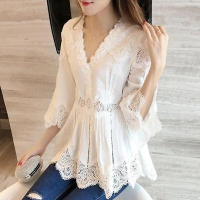 New fashion Womens  V-Neck Flouncing Lace Hollow Shirt Blouses Casual loose