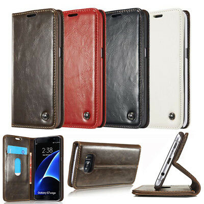 Luxury Flip Real Leather Wallet Magnetic Case Cover For Samsung Galaxy Phones