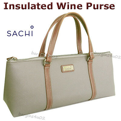 Sachi Wine Bottle Insulated Cooler Bag Tote Carrier Purse Handbag Lunch - Taupe