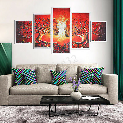 5 Panels Abstract Love & Tree Modern Canvas Painting Prints Home Wall Art Decor
