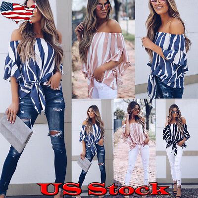 Sexy Women New Off Shoulder Stripe Tops Summer Beach Casual Boho Bowknot T Shirt