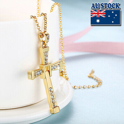 The Fast and The Furious 18K Yellow Gold Filled Crystal Cross Pendant Chain Neck