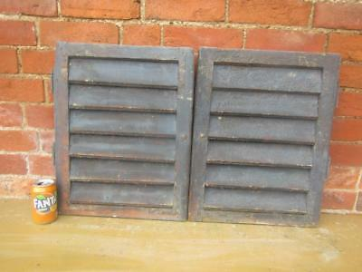 VINTAGE WOODEN SHUTTERS WINDOW  51x80cm  ANTIQUE FRENCH  RECLAIMED   FREE post