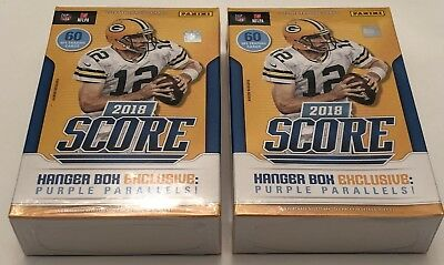 2 Hanger Boxes 2018 Score Football EXCLUSIVE Purple Parallels Sealed 60 Card Box