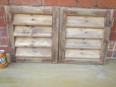 VINTAGE WOODEN SHUTTERS WINDOW  41x73cm  ANTIQUE FRENCH  RECLAIMED   FREE post