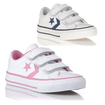 Boys Girls Converse Kids Star Player Chuck Leather Trainers Sports Shoes Size Uk