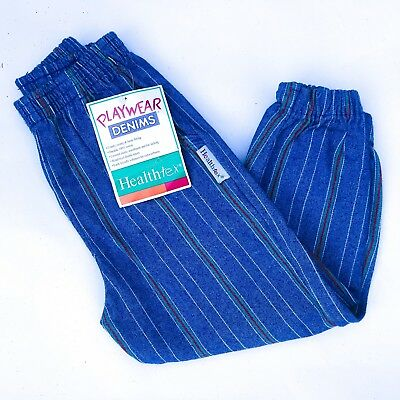 Vintage Kids NOS Healthtex Grunge Unisex 90s Striped Denim Trousers Jeans 3-4 Y