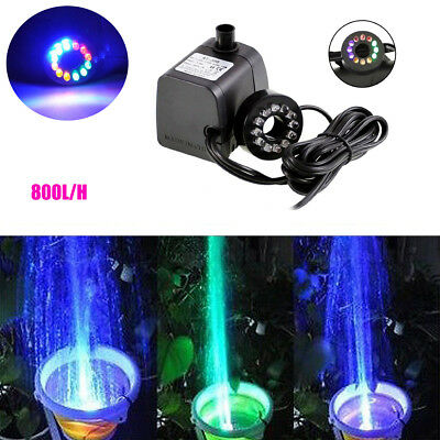 LED Light Electric Submersible Water Pump Aquariums KOI Pond Fountain Waterfall