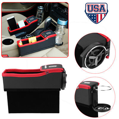 Car Seat Crevice Storage Box Caddy Gap Pocket + Cup Holder Phone Case Organizer