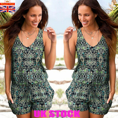 Womens V Neck Holiday Playsuit Romper Ladies Jumpsuit Summer Beach Dress Shorts