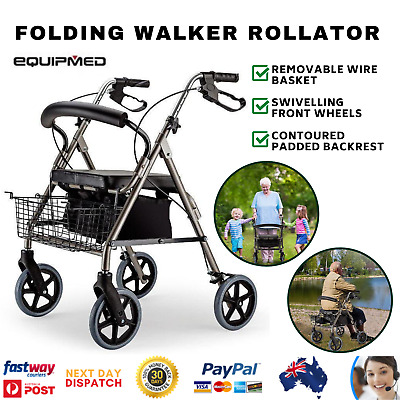 Foldable 4 Wheel Walker Walking Frame 4WF Rollator Elderly Mobility Aid
