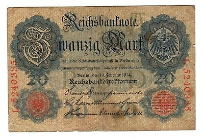 Germany - Empire 1914 - 20 Mark Banknote - # L.5240335