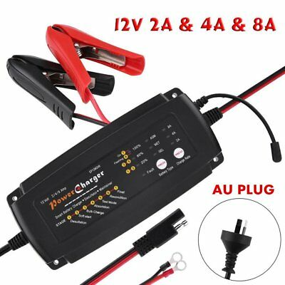 12V 2/4/8A 3in1 7-Stage Smart Waterproof Battery Charger for Car Motorcycle AMA