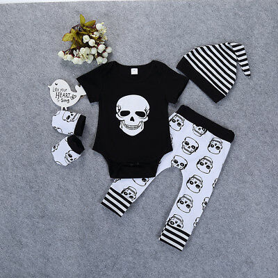 Infant Baby Skull Short Sleeve Romper Pants Gloves Hat Halloween Outfit Nice