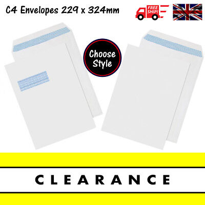 High quality White C4 Self Seal Envelopes With & Without Window 324 x 229mm