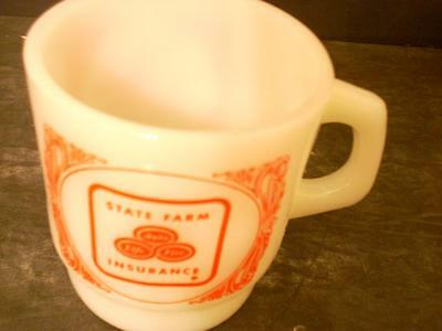 Vtg Sate Farm Insurance White Milk Glass Coffee Cup Anchor Hocking Usa(3D)