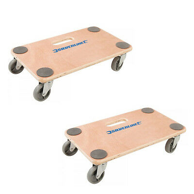 Silverline Dolly Trolley Platform 150kg Twin Pack Wheeled Wooden Board Transport