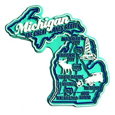 Michigan the Great Lakes State Premium Map Fridge Magnet