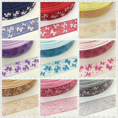 NEW 5 Yards 1'' 25mm Butterfly Organza Pattern Clarity Ribbon Hair Boow Craft