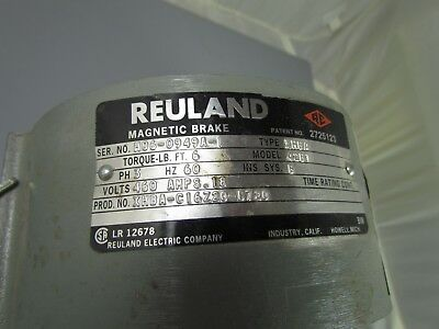 Reuland Brake, Type XHBA, M/N 42B1, S/N H06-0949A-1, 6 ft/lbs, 460 volts, .18 am