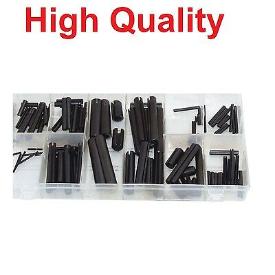 120pc Roll Pin Tension Pins Spring Pins C Pins Assortment Set Mixed Sizes Black