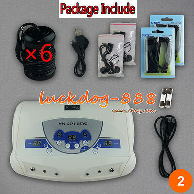 Dual Chi Ionic Ion Detox Machine Foot Bath Cell Aqua Spa Cleanse + 6pcs Arrays