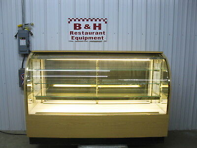 "72"" Curved Front Glass Lighted Candy Donut Bakery Dessert Display Case 6'"