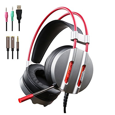 PC Gaming Headset with Mic, 3.5mm Over-Ear Headphones with Water-cool LED Light