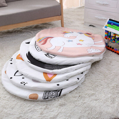 AM_ LK_ Newborn Baby Kids Crawling Blanket Round Animal Print Carpet Floor Mat S