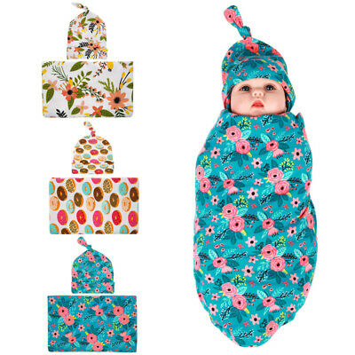 AM_ LK_ NE_ LC_ Baby Floral Swaddle + Hat Newborn Photography Prop 2Pieces Set C