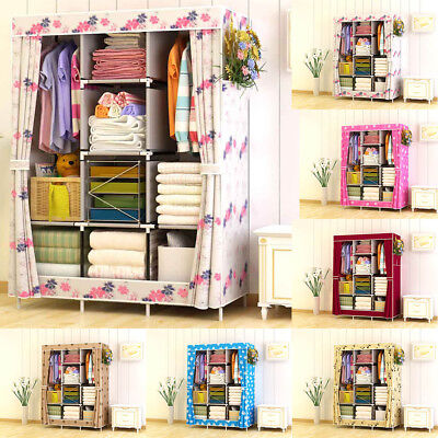 "83"" Triple Fabric Canvas Clothes Organiser Storage Wardrobe Cupbaord Shelves New"