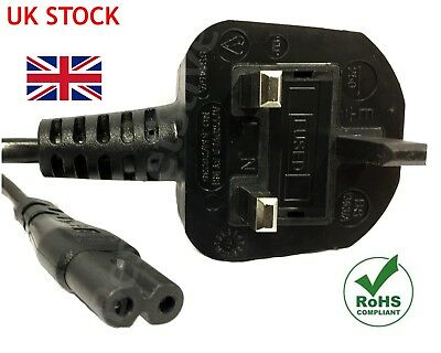 2m Figure of 8 Mains Cable / Power UK Lead Plug Cord Fig IEC C7 Laptop PS4 SKY .