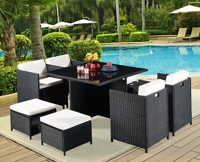 New 9 Piece Rattan Garden Furniture Set Dining Conservatory Outdoor Home Table