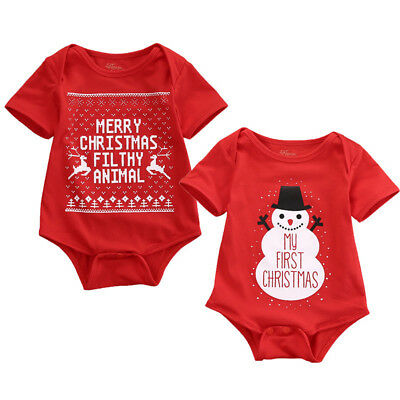Am_ Lk_ Ne_ Lc_ Ba_ Newborn Baby Kids Short Sleeve Merry Christmas Romper Snowma