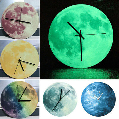 AM_ Modern 3D Wall Clock Moon Moonlight Glow In The Dark Clocks Home Decor Fashi
