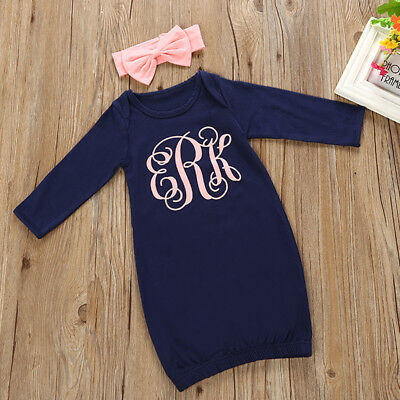 Am_ Lc_ Ba_ Newborn Baby Girls Sleeping Bag Long Sleeve Romper Clothes + Headban
