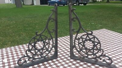 "2 Antique 8.75"" x 6"" Ornate 1890s Victorian Pair Cast Iron Wall Shelf Brackets"