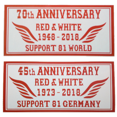 ANNIVERSARY 70th WORLD/45th GERMANY Red and White Support 81 Sicker Aufkleber