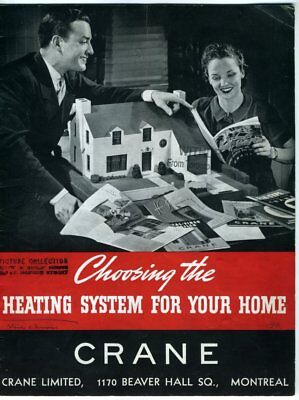 CRANE LIMITED 1939 Brochure HEATING SYSTEM FOR YOUR HOME Montreal Coal Water Oil