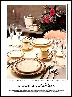 1987 Noritake Stanford Court Fine China Vintage PRINT AD Crystal Dinner Table