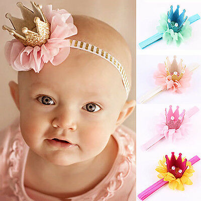 AM_ Baby Girl Princess Glitter Crown Headband Hair Band Tiara Lace Headwear Rapt