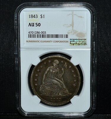 1843-P $1 Seated Liberty Dollar ✪ Ngc Au-50 ✪Almost Uncirculated Silver◢Trusted◣