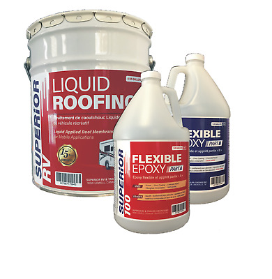 RV Roof Coating Kit for ALPHA, EPDM, OLD COATINGS for RVs up to 40 Ft.