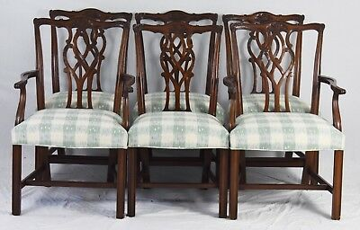 Set Of 6 KINDEL Chippendale Mahogany Dining Room Chairs Williamsburg Style