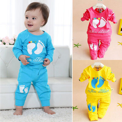 Am_ Lc_ Ba_ 2 Pieces Set T-Shirt+Pants Cute Footprint Baby Girl Boy Newborn Clot